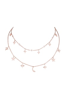 Rose Gold Plated Cubic Zirconia Chain Necklace by Anaqa