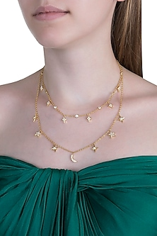 Gold Plated Cubic Zirconia Chain Necklace by Anaqa