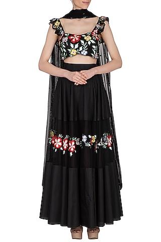 Black Embroidered Silk Lehenga Set by Ank By Amrit Kaur