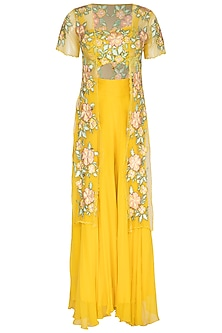 Yellow Embroidered Blouse With Palazzo Pants & Jacket by Ank By Amrit Kaur