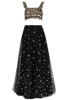 Black Embroidered Ruffled Lehenga Set by Ank By Amrit Kaur