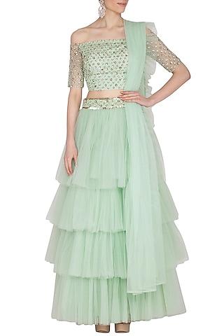 Mint Green Embellished Lehenga Set by Ank By Amrit Kaur