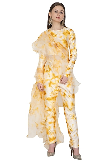 White & Yellow Tie-Dye Pant Saree Set by Ank By Amrit Kaur