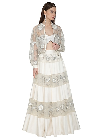 Off White Embroidered Top With Skirt & Bomber Jacket by Ank By Amrit Kaur