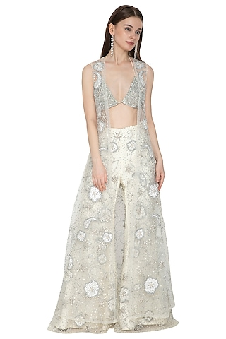 Off White Embroidered Bikini Blouse With Flared Pants & Cape by Ank By Amrit Kaur