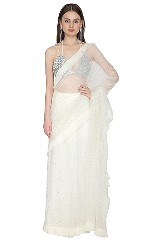 White & Silver Embellished Saree Set by Ank By Amrit Kaur