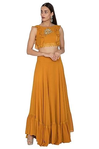 Mustard Embroidered Ruffled Blouse & Skirt by Ank By Amrit Kaur