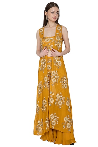 Mustard Embroidered Bustier & Sharara Set by Ank By Amrit Kaur