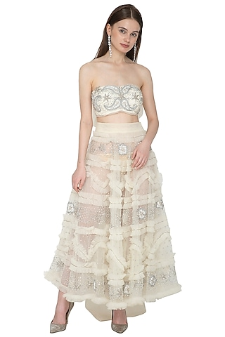 Silver & White Embroidered Bustier Blouse With Skirt by Ank By Amrit Kaur