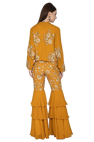 Mustard Embroidered Jacket & Sharara Set by Ank By Amrit Kaur