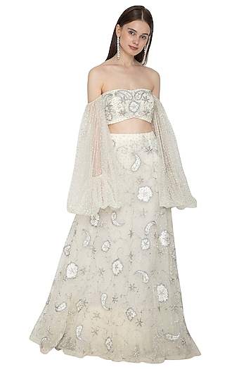 Silver Embroidered Bustier Blouse With Skirt by Ank By Amrit Kaur