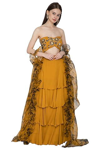 Mustard Tie-Dye Embroidered Lehenga Set by Ank By Amrit Kaur