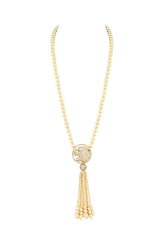 Gold Finish Pearl Necklace by Ananta Jewellery