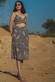 Grey Printed A-Line Skirt by Anurav