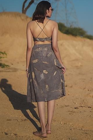 Grey Printed A-Line Skirt by Anurav