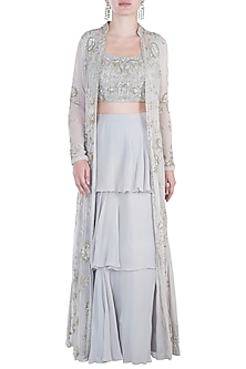 Grey Embroidered Jacket with Blouse and Lehenga Skirt by Aneesh Agarwaal