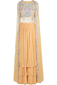 Mango Yellow Embroidered Crop Top with Lehenga Skirt by Aneesh Agarwaal