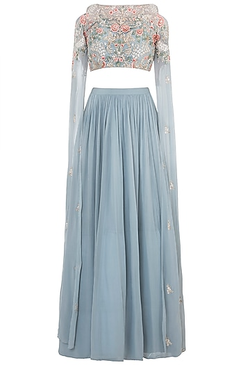 Greyish Blue Embroidered Crop Top with Lehenga Skirt by Aneesh Agarwaal