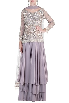 Mauve Embroidered Jacket with Blouse, Palazzo Pants and Dupatta by Aneesh Agarwaal