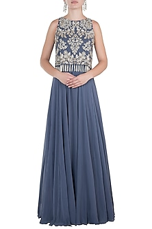 Steel Grey Embroidered Cape Anarkali Gown by Aneesh Agarwaal