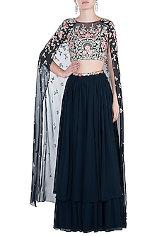 Navy Blue Embroidered Crop Top with Lehenga Skirt by Aneesh Agarwaal