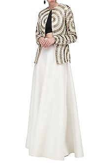 Gold and White Embroidered Jacket by Anand Bhushan