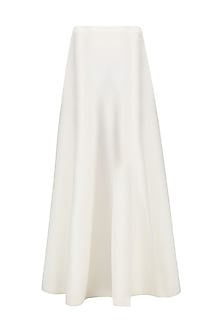 White Flared Maxi Skirt by Anand Bhushan