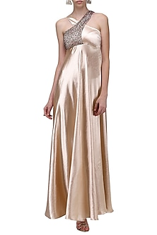 Pink Crossover Strap Sequins Embroidered Gown by Anand Bhushan