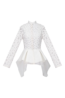 White Front Open Peplum Jacket by Anand Bhushan