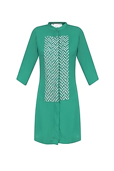 Green Sequins Embellished Shirt Dress by Anand Bhushan