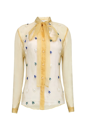 Yellow, Blue, Green and White Sequinned Motifs Shirt by Anand Bhushan