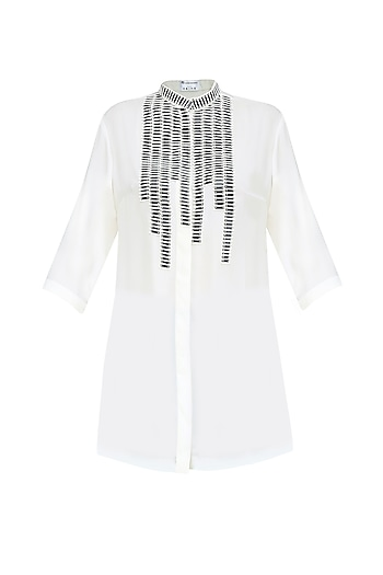 White Sequins Embellishment Button Down Shirt by Anand Bhushan
