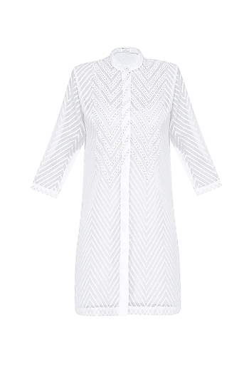 White Zigzag Pattern Sequins Embellished Shirt Dress by Anand Bhushan
