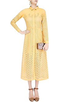 Yellow Cutwork Detailing Jacket Dress by Anand Bhushan