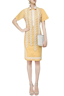 Yellow Sequins Embellishment Shirt Dress by Anand Bhushan