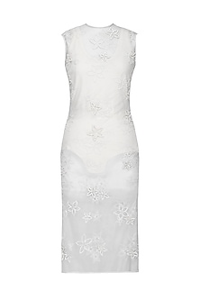 White Net Dress with Neoprene Swim Suit by Anand Bhushan