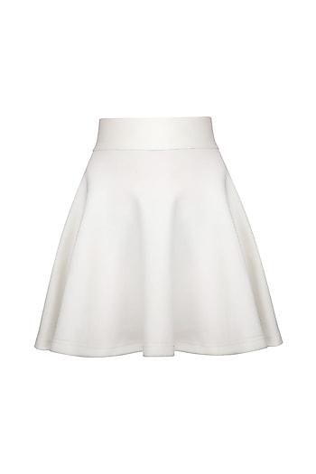 White Knitted Skater Skirt by Anand Bhushan