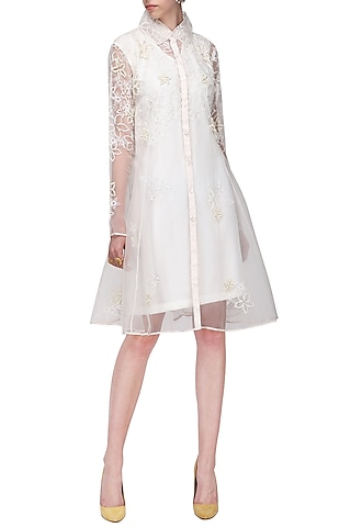 White Floral Embroidered Knee Length Jacket by Anand Bhushan