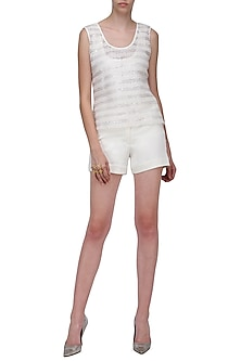White Knitted Shorts by Anand Bhushan