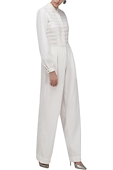 White Knitted Jumpsuit by Anand Bhushan