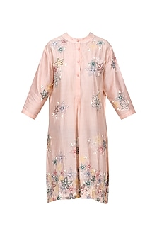 Pink Embroidered Yoke Neck Tunic by Anand Bhushan