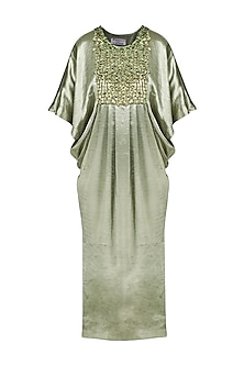 Green Embroidered Satin Dress by Anand Bhushan
