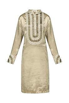 Gold Embroidered Kurta and Trousers by Anand Bhushan