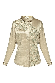 Gold Floral Embroidered Satin Shirt by Anand Bhushan