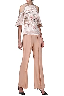 Pink Cold Shoulder Embroidered Top by Anand Bhushan