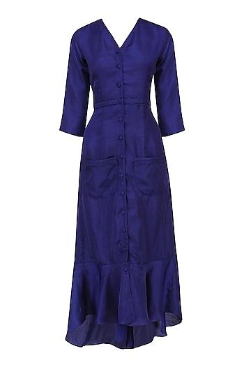 Sapphire Ruffled High Low Evening Dress by Ankita