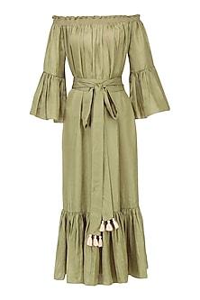 Olive Off Shoulder Dress by Ankita