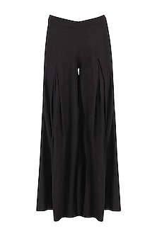 Black Pleated Wide Leg Pant by Ankita