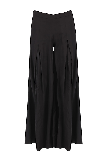 Black Pleated Wide Leg Pant by Ankita