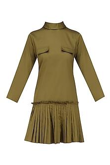 Military Green Short Dress by Ankita